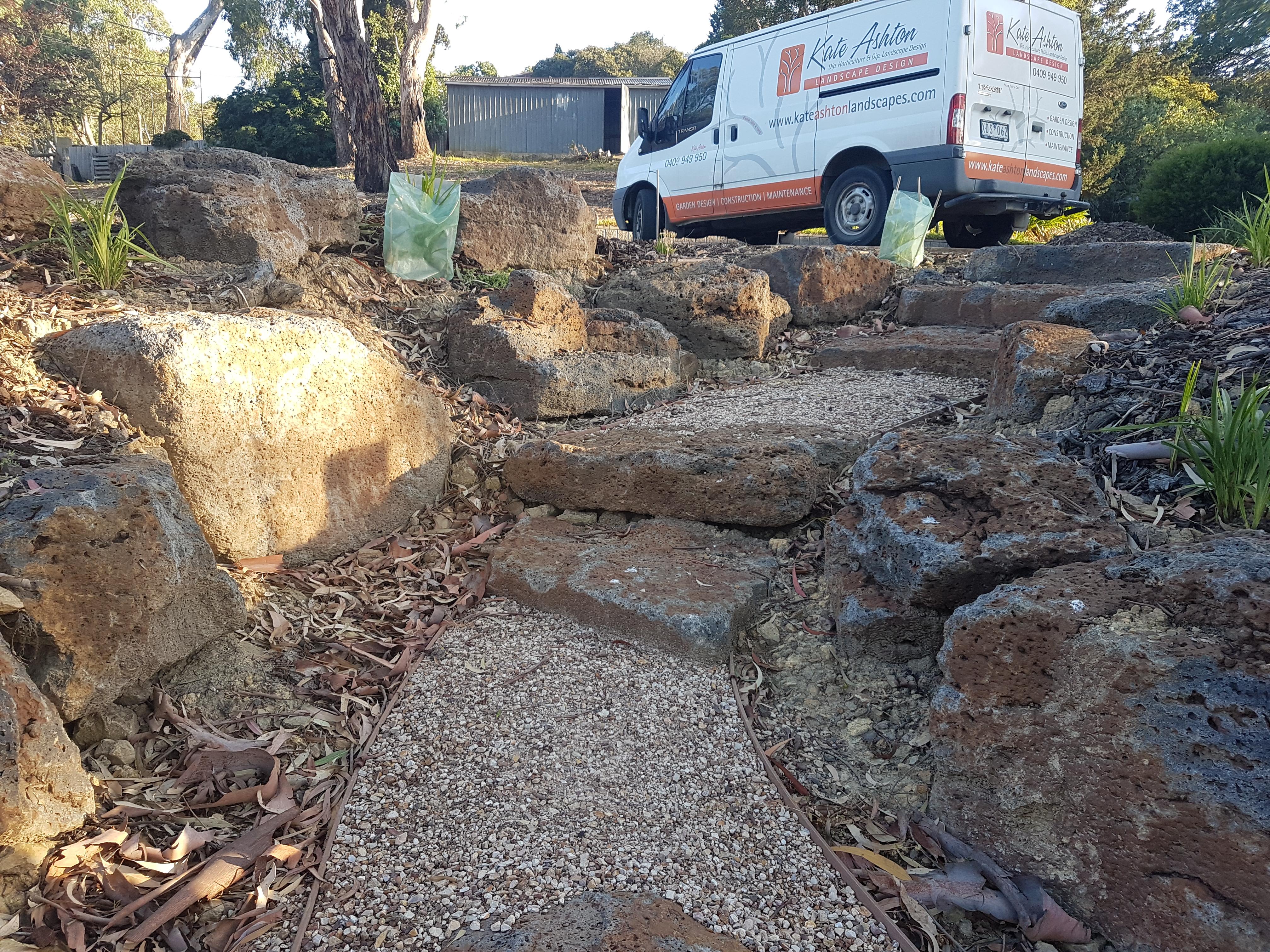 Colac Rock steps, Drought tolerant plants, Compacted sandstone, Colac Rock,