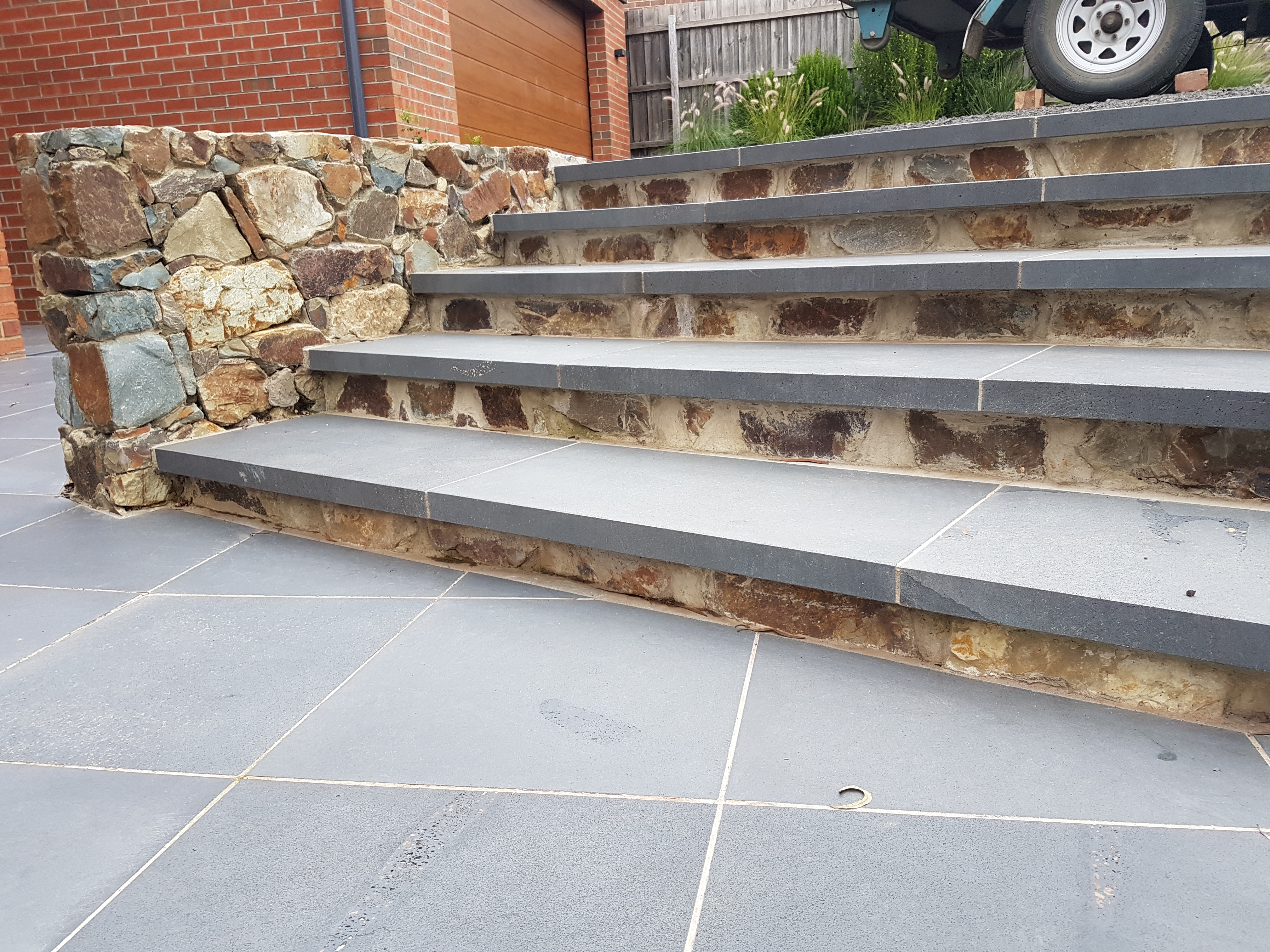 Coldstream stone steps, Bluestone capping pavers