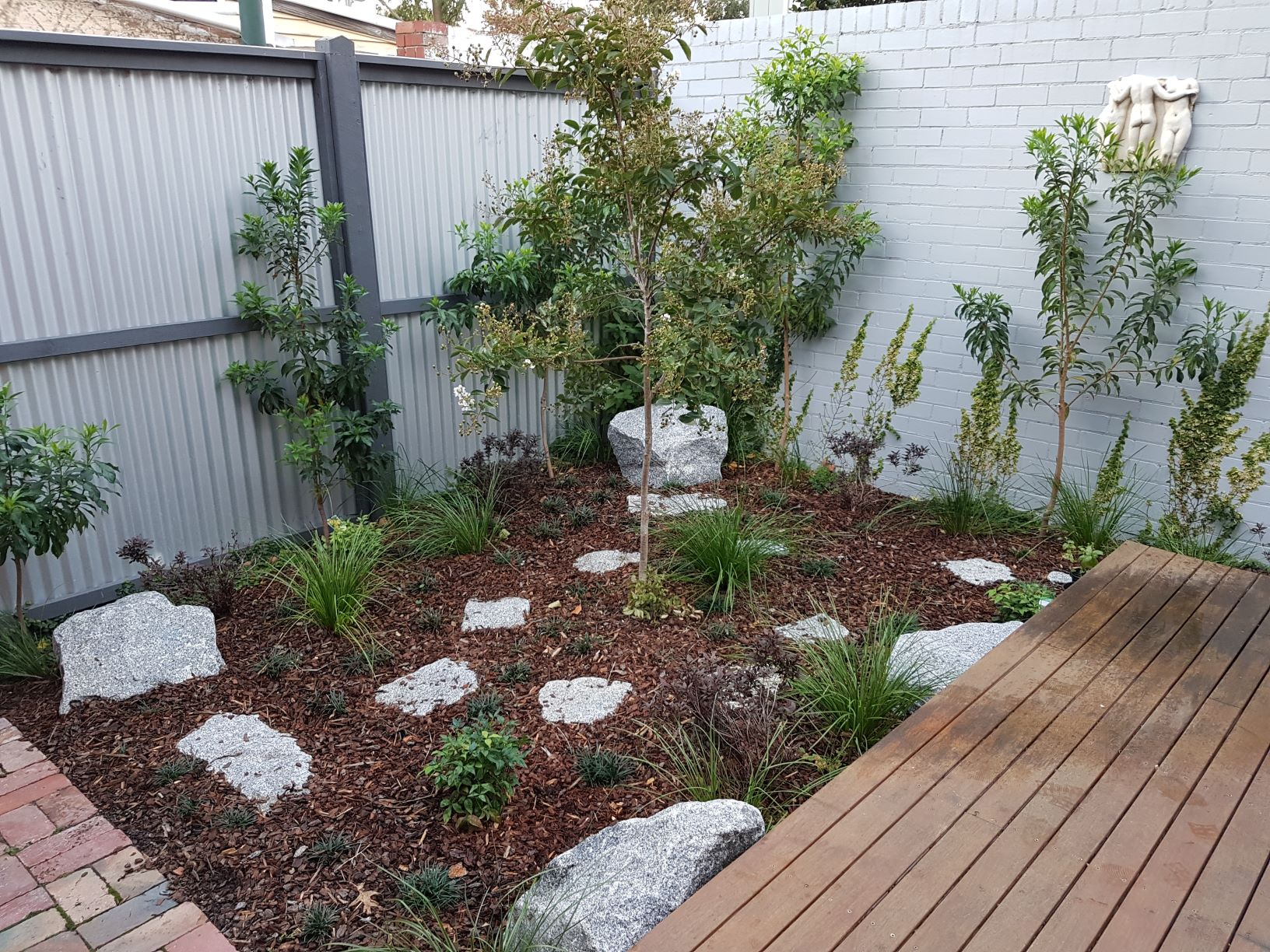 Granitic stone, Granitic stone stepping pavers, Asian style garden, Carlton Nth garden, Rocks for add interest