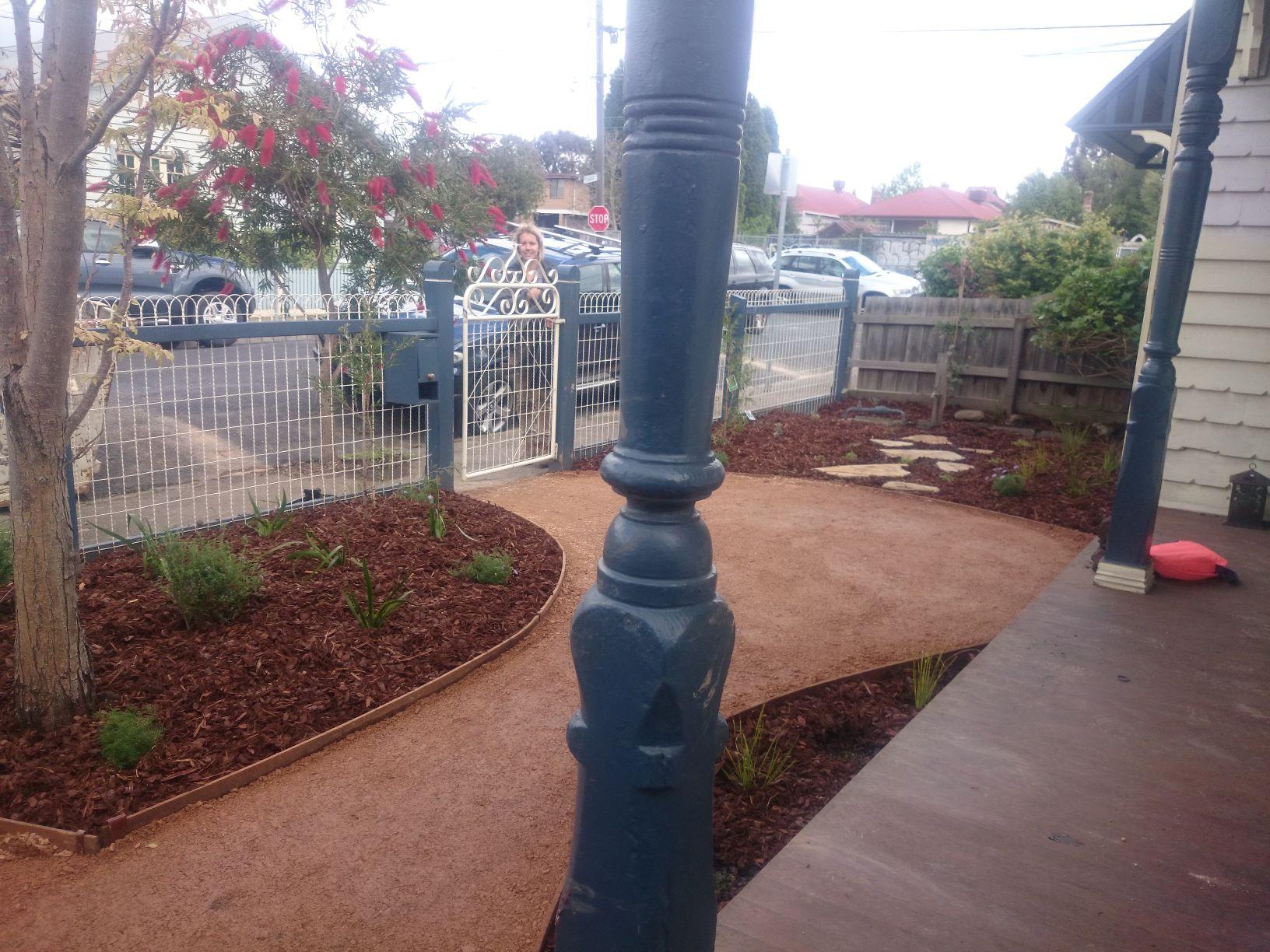 Coburg front garden, small garden, native garden, compacted sandstone