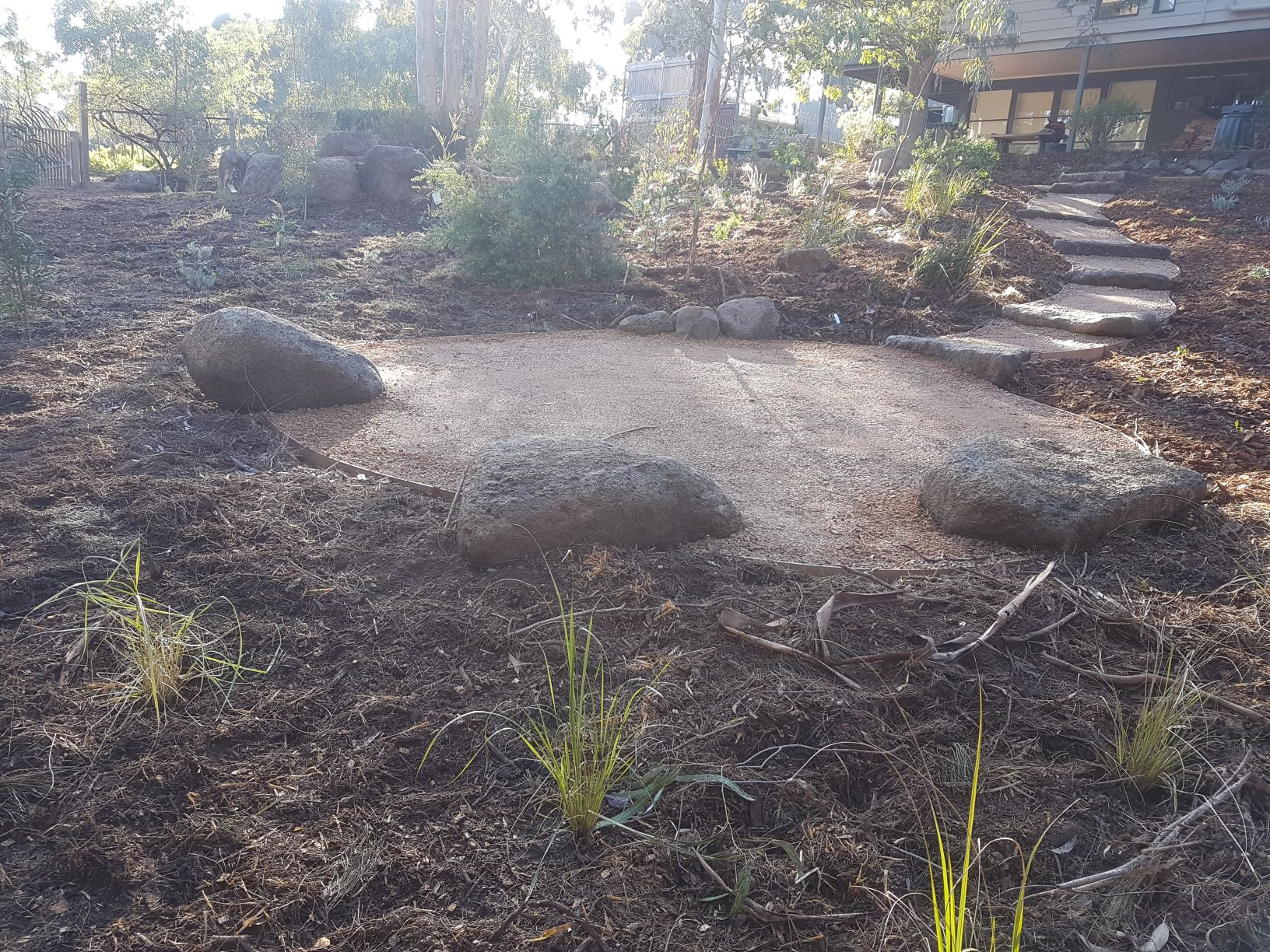 Colac rock for retaining, compacted crushed sandstone, native garden, Templestowe garden, sloping garden, native plants