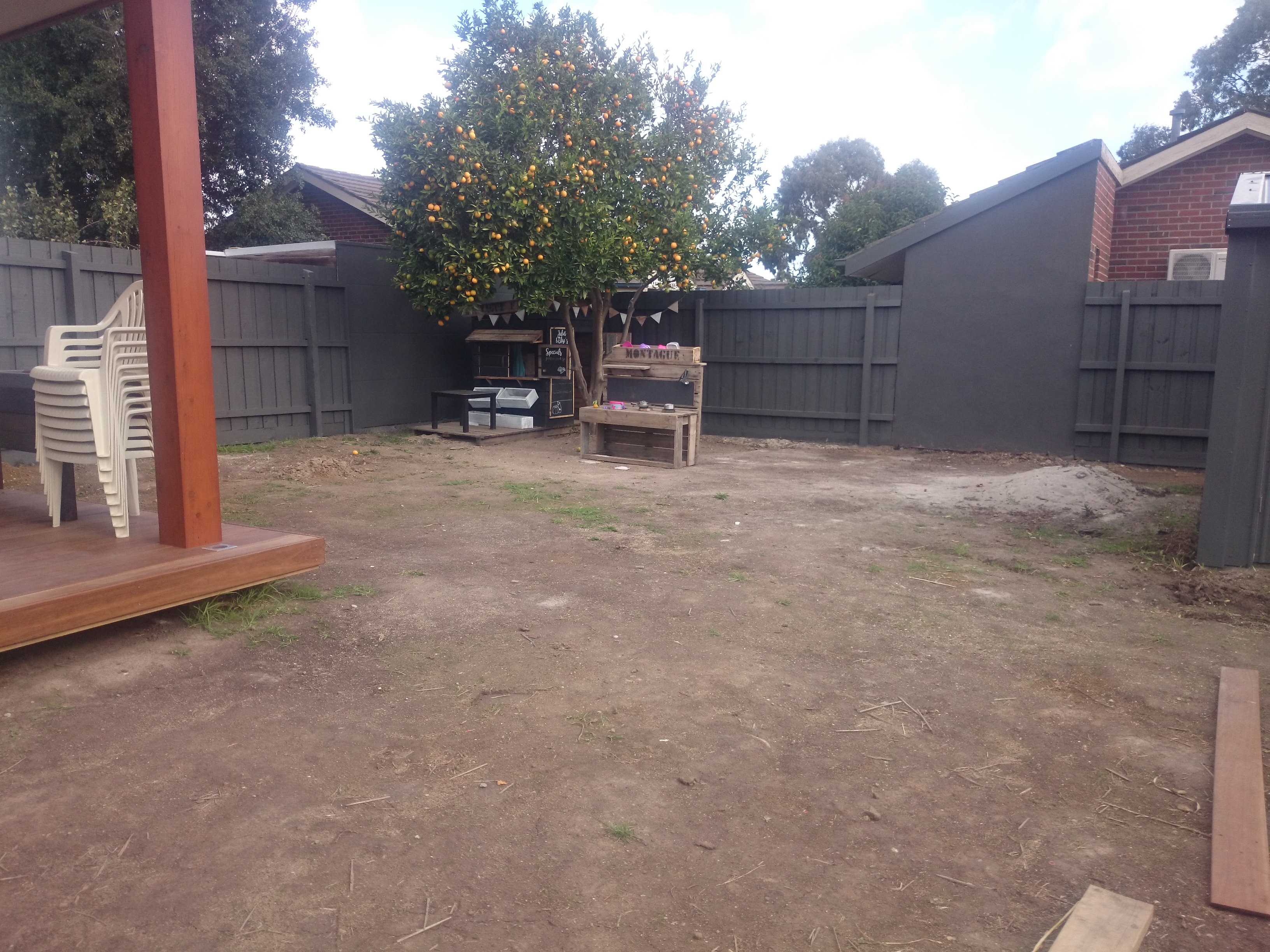 Before landscaping, blank canvas, no garden.