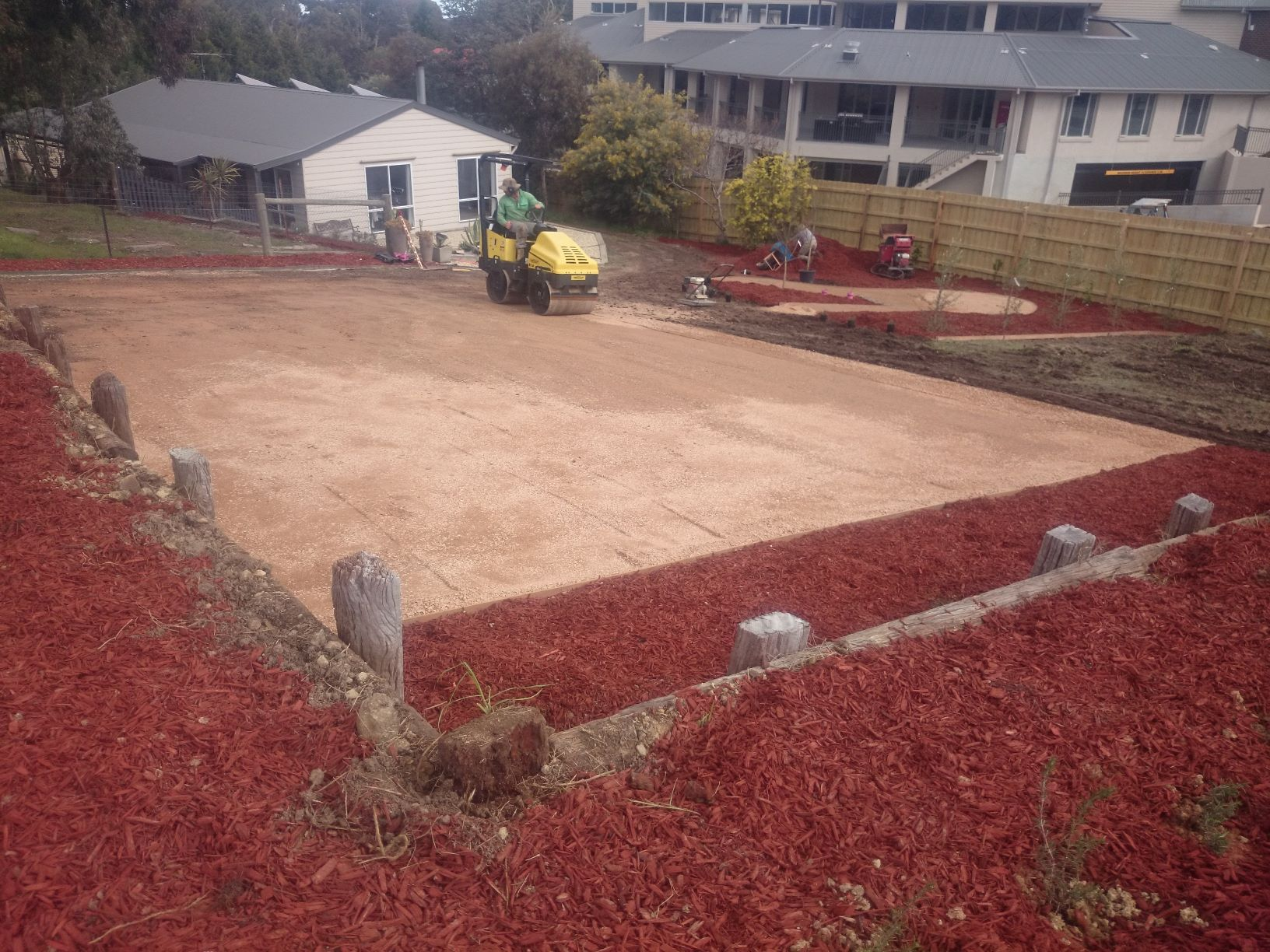 Compacted sandstone, parking area, reversing bay, extra parking, red mulch