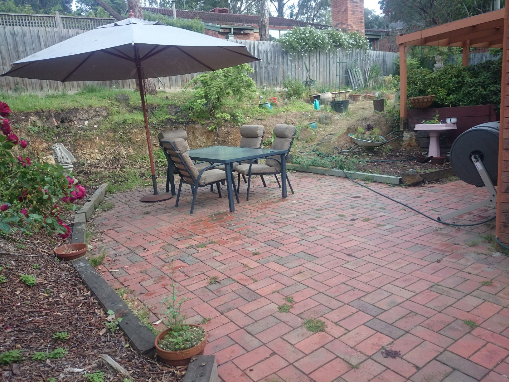 Before landscaping, Eltham entertaining area before works