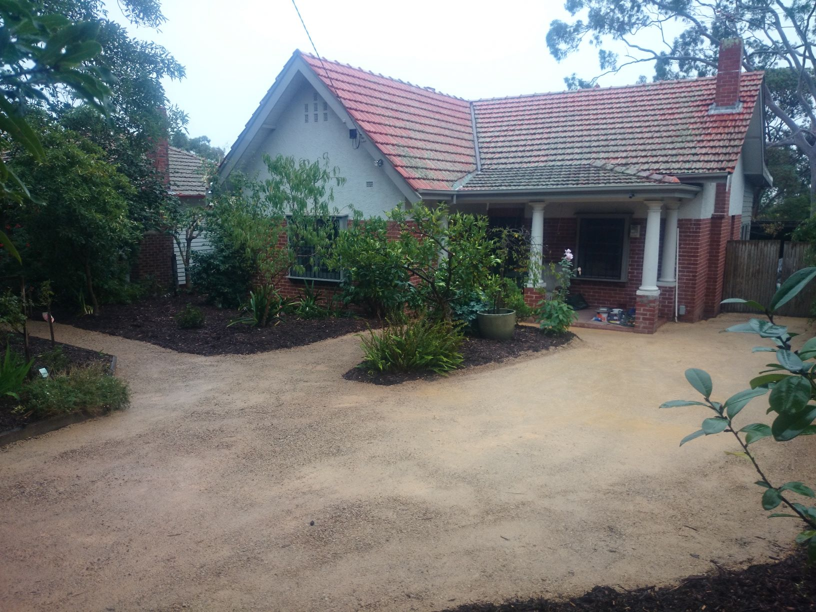 Surrey Hills extra parking, Driveway surfacing, compacted crushed sandstone driveways, 1.2 tonne Roller compactor