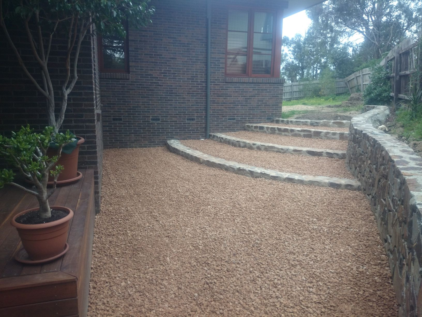 Coldstream stone steps, 20mm crushed sandstone, Macleod garden, side of house