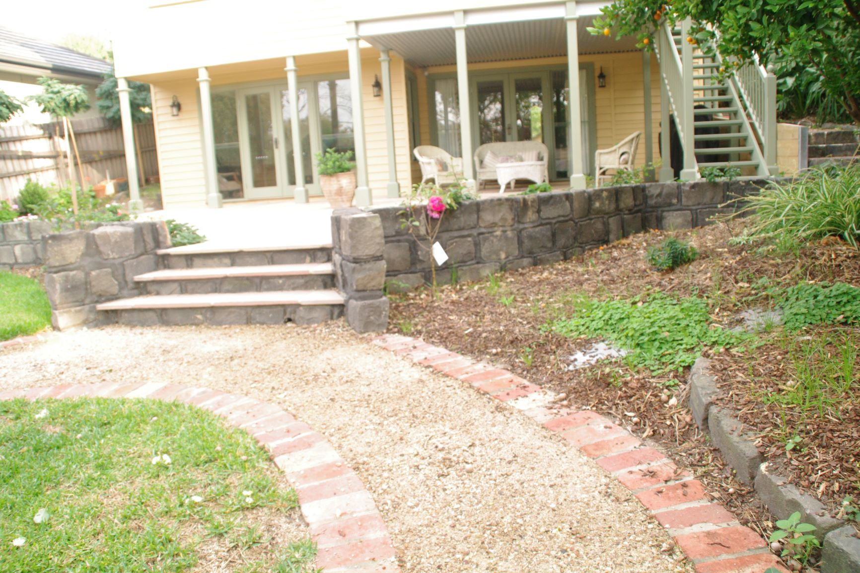 Bluestone block steps, stone paver,  Surrey Hills garden steps