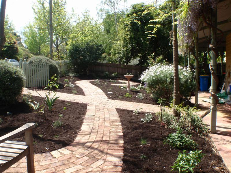 Completed paving, second hand red brick paving, garden path