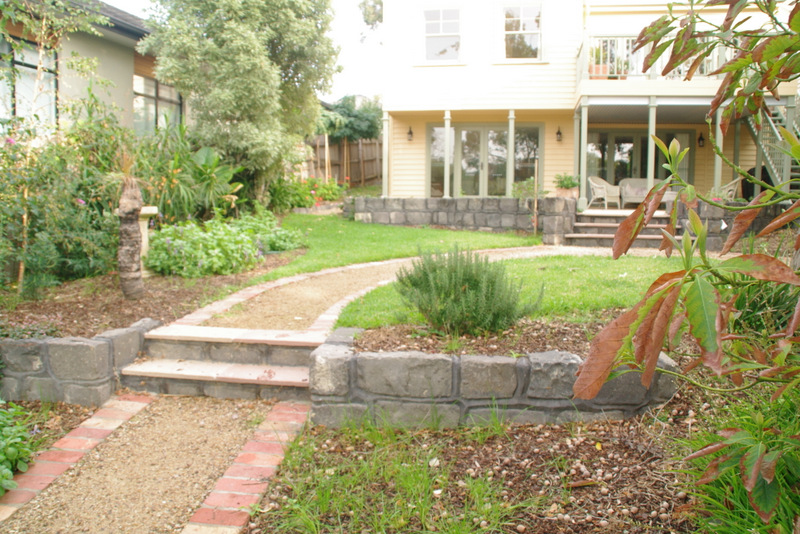 Garden path, rear of the propery garage,   Lawn, Garden path, Secondhand red brick edging, garden beds surrey Hills back garden