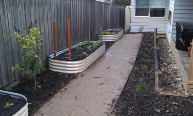 Corrigated steel raise beds, veggie gardens, mulch, compacted sandstone