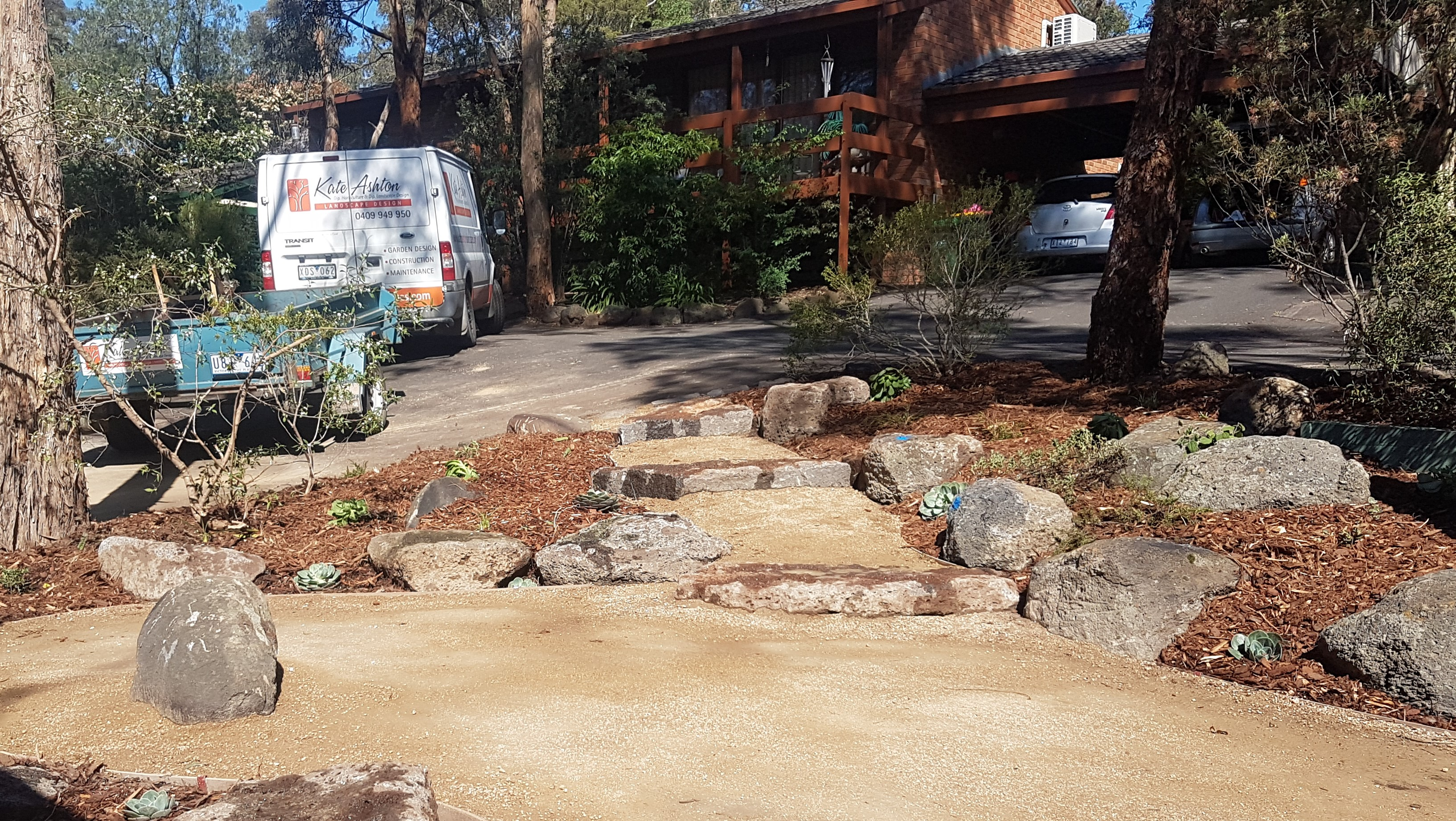 Rock steps, native garden, Compacted granitic sand
