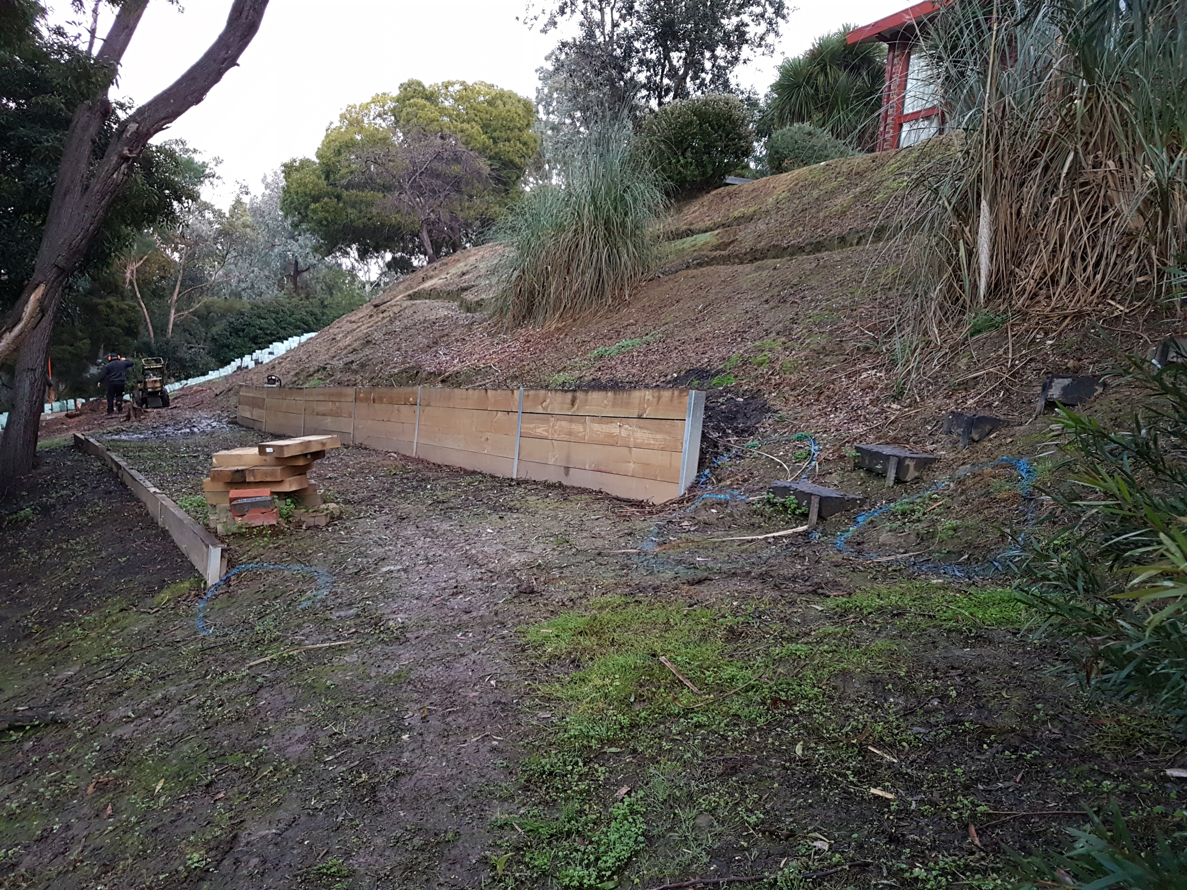 Before works started, Sloping block, treated pine retaining wall