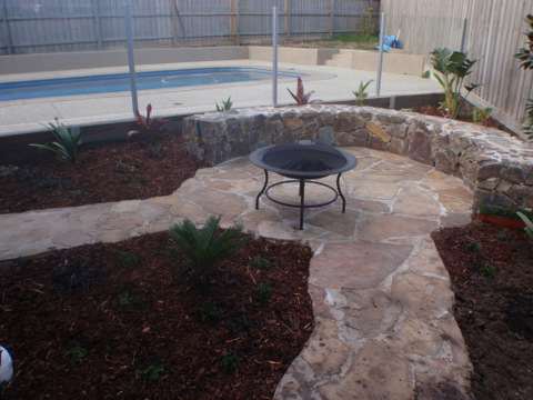 Crazy paving, natural stone,  Castlemaine Stone, Coldstream stone seat