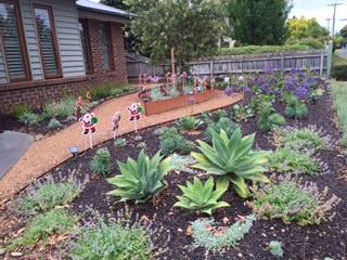 Agavas, corten steel, low maintenance garden, compacted pathways, Blackburn garden