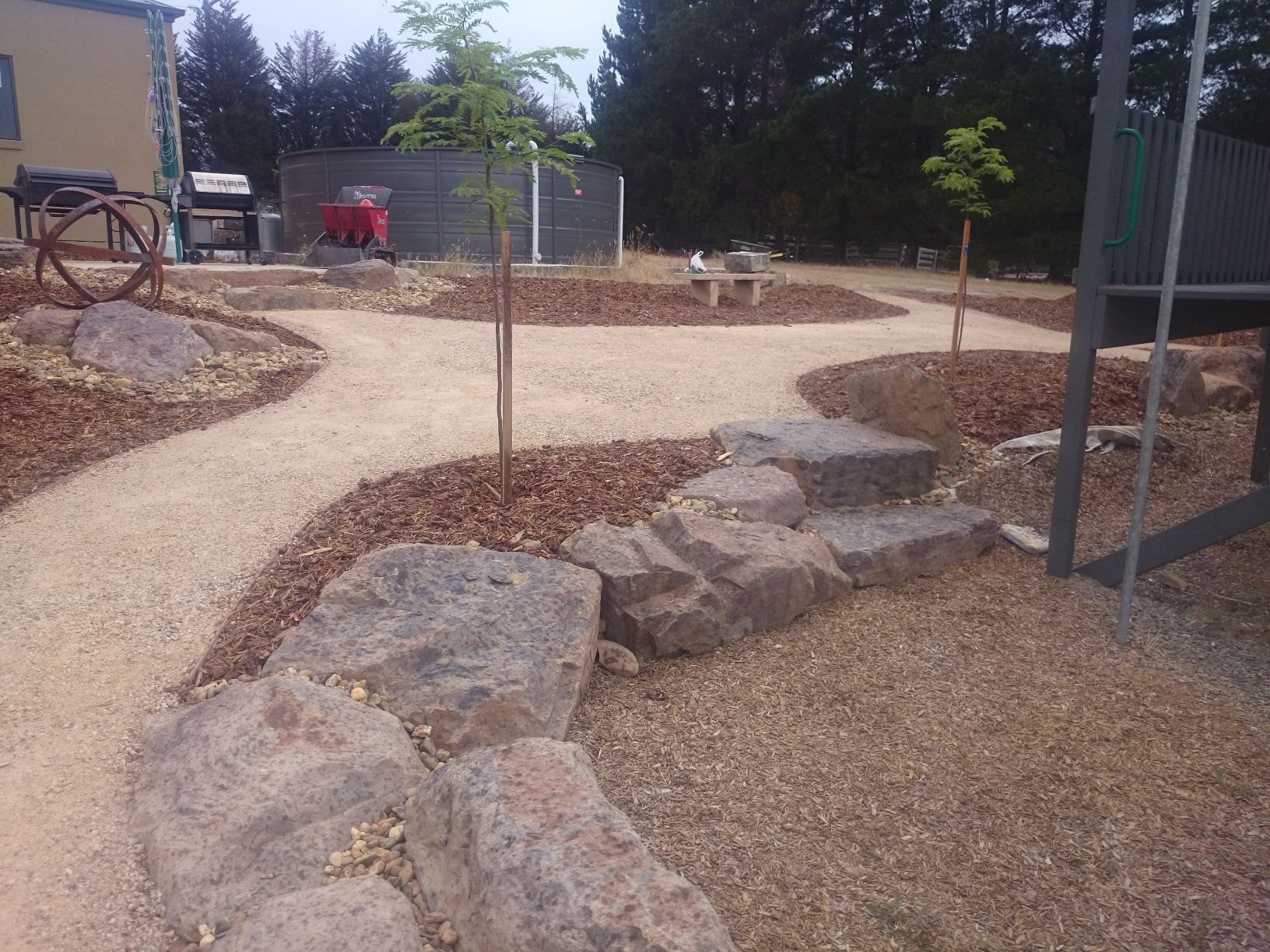 Mud rock for retaining, compacted crushed sandstone, native garden, Eden Park garden, sloping garden