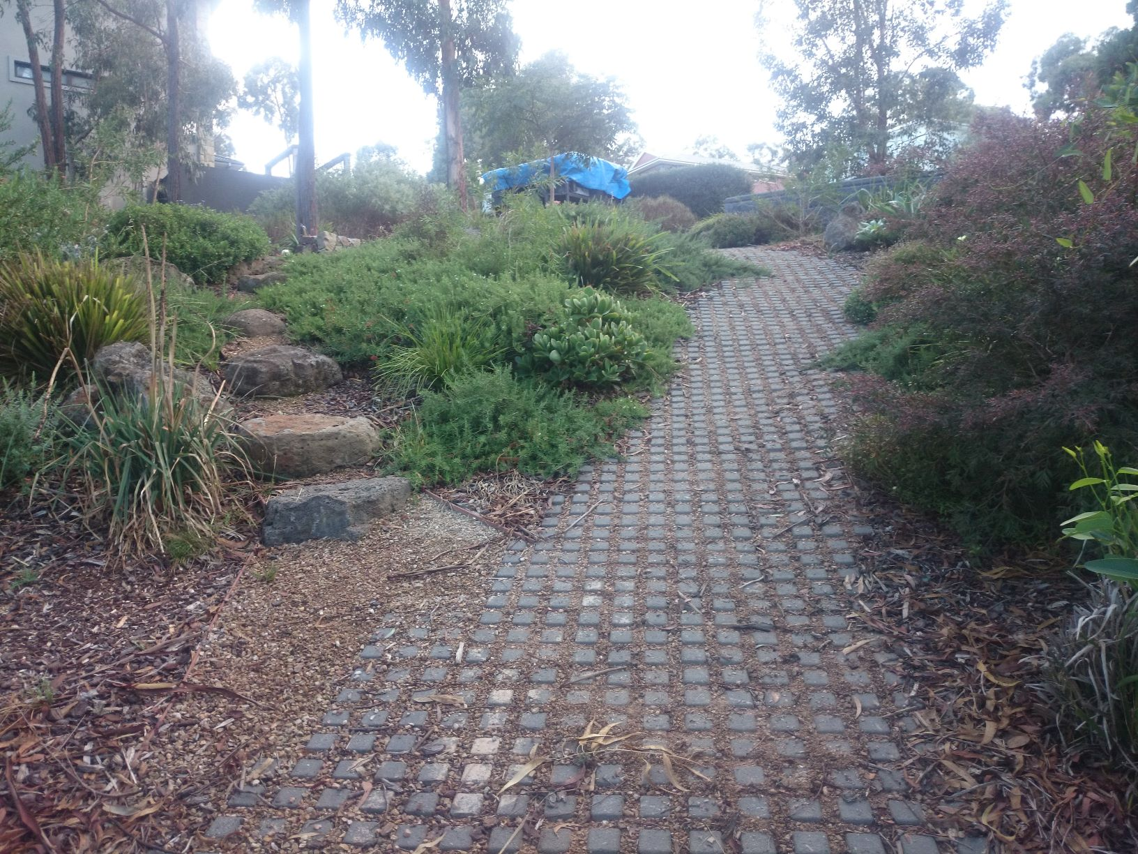 Steep sloping, steep back yard access, Concrete block pavers with drainage