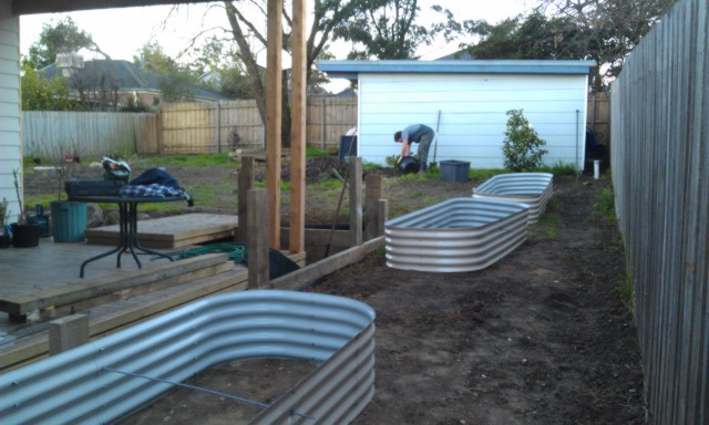 Corrigated steel raise beds, veggie gardens,