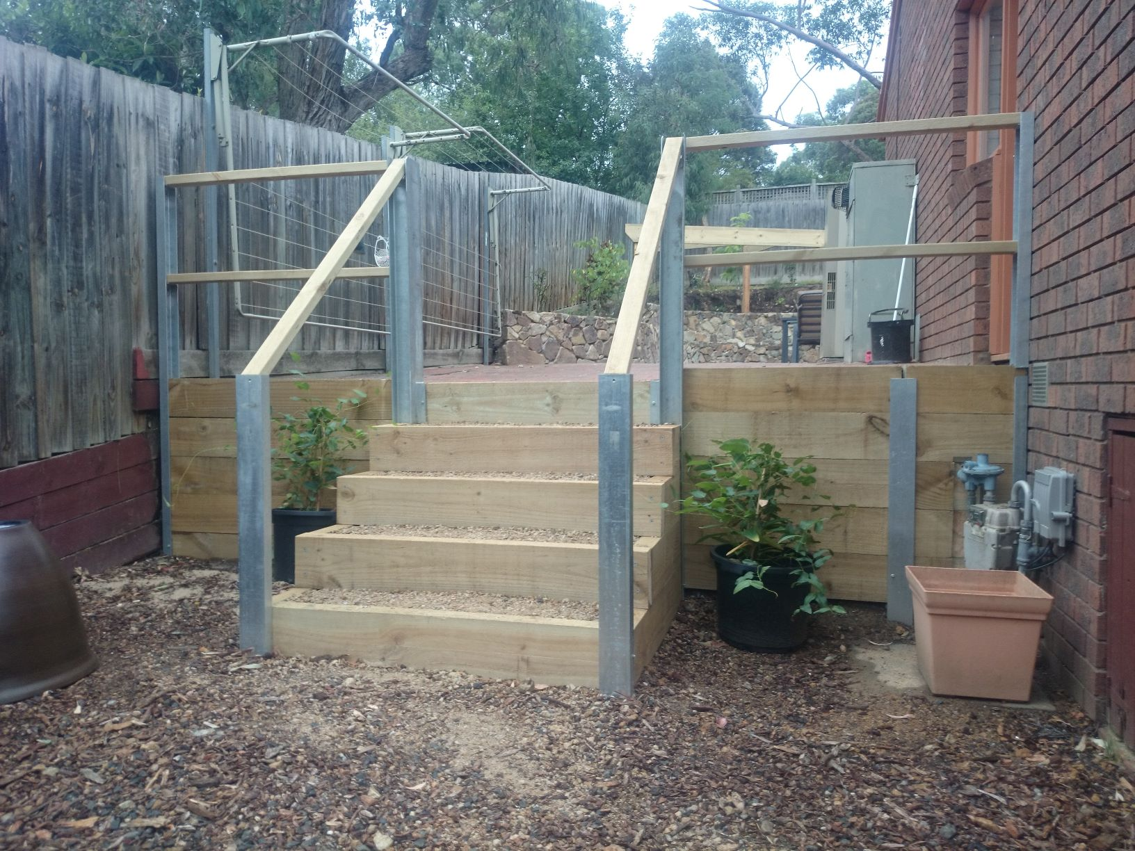 Treat pine steps, Galvanised up rights, treated pine retaining wall, Eltham garden