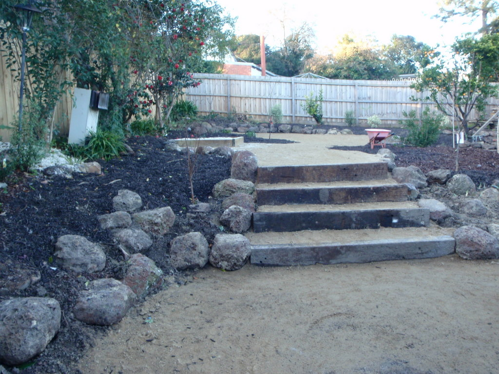 Second hand sleeper steps, Rocks, Compacted topping, Rustis looking steps