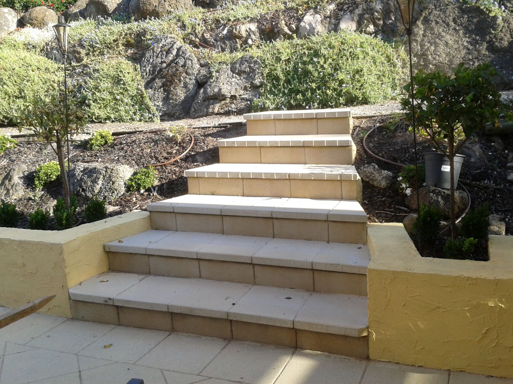Concrete steps, concrete pavers,