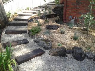 Second hand Railway sleeper steps, Second hand sleeper steps, Rocks, Compacted topping