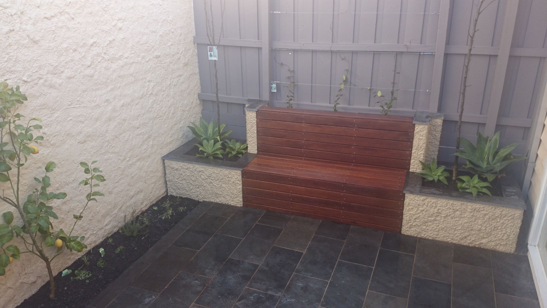 South Melbourne courtyard garden, Bluestone paving, rendered brick planter boxes, Timber built in seat.