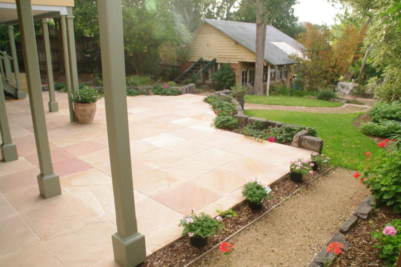 Garden path, rear of the propery garage,   Lawn, Garden path, Secondhand red brick edging, garden beds surrey Hills back garden,  Travertine stone pavers