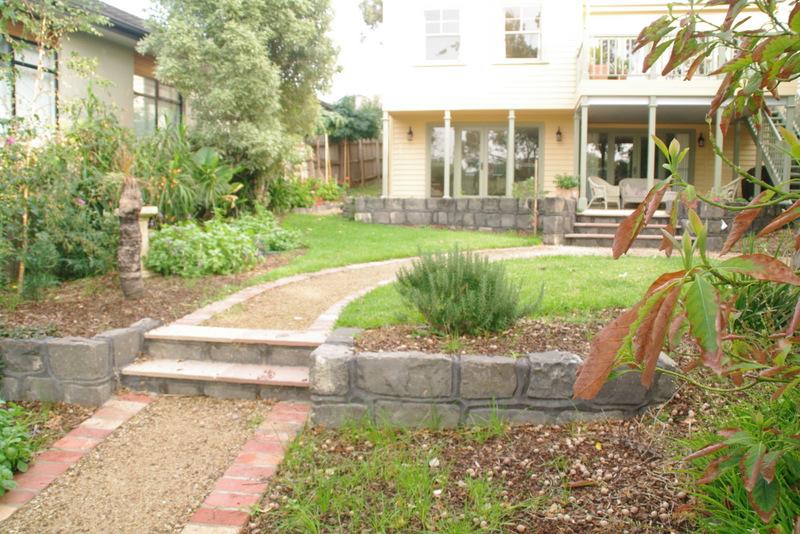 Garden path, rear of the propery garage,   Lawn, Garden path, Secondhand red brick edging, garden beds surrey Hills back garden